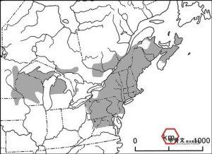 Map of known North American Wood Turtle habitat